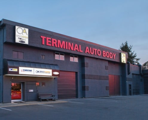 Parksville BC - View of the front entrance for Terminal Auto Body Shop