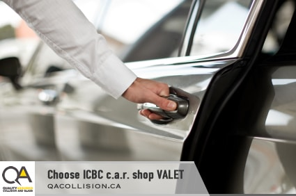 Choose ICBC c.a.r. shop VALET - man's hand opening a car door.
