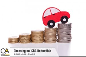 Choosing an ICBC Deductible - Cartoon Car climbing hill made of coin
