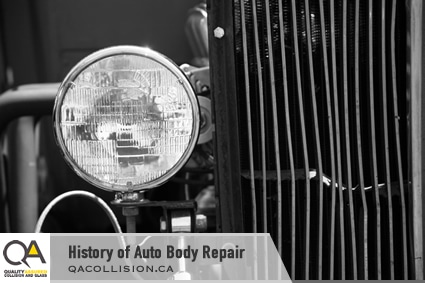History of Auto Body Repair - shows headlight beside damaged car grill