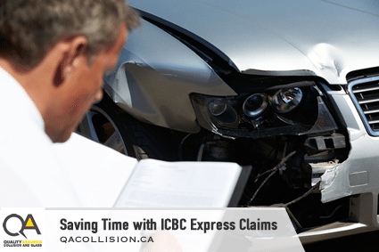 Saving Time with ICBC Express Claims - Man with Book beside car with damaged front end