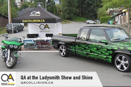 Small image of Truck and motorcycle for QA Collision at the Ladysmith Show and Shine