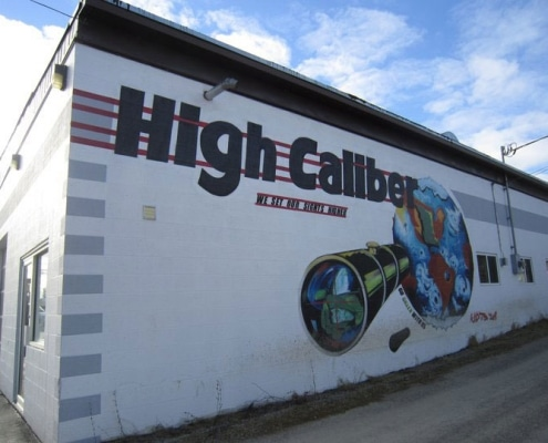 Wall mural at High Caliber auto body shop in Creston BC