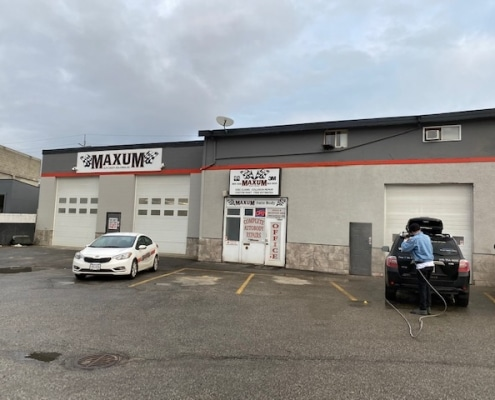 View from Parking Lot of Maxum auto body shop in Kelowna BC