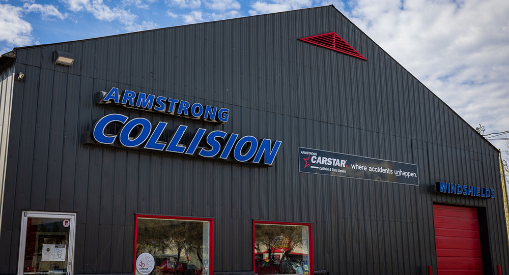 Armstrong Collision front entrance in Armstrong BC